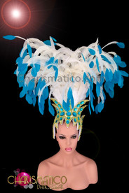 CHARISMATICO Sky Blue Tipped White Feather Gold Bead Brazilian Carnival Headdress
