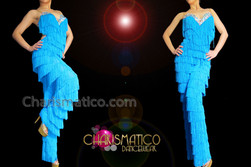 CHARISMATICO Iridescent Crystal Accented Sky Blue Latin Salsa Fringe Dance Pants