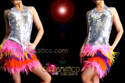 CHARISMATICO Silver Sequin Pink, Yellow, Purple, and Orange Layered Feather Dress