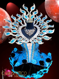 CHARISMATICO Silver Based Blue Glitter Backpack With Coordinating Floral Dollie Dress