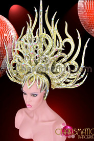 CHARISMATICO Flame Styled Gold Glitter Crystal Studded Diva Drag Queen Headdress