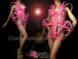 CHARISMATICO Sexy Pink Shiny Vinyl Madonna Inspired Corseted Cage Dress Costume