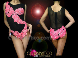 CHARISMATICO Sheer Black Diva Showgirl Fuchsia Beaded Applique Accented Burlesque Leotard