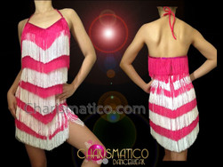 CHARISMATICO Diva's Halter Style Fuchsia And White Fringe Latin Dance Dress