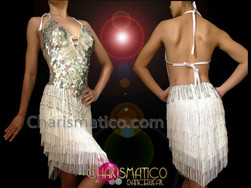 CHARISMATICO Halter Style Metallic Silver Latin Dance Dress With White Fringe