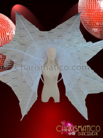 CHARISMATICO Diva's Cabaret Iridescent Shimmering Sheer Pleated White Organza Backpack Wing