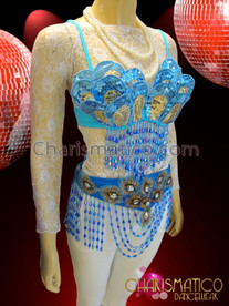 CHARISMATICO Diva Blue Beaded Fringe Carnival Bra With Matching Belt Thong
