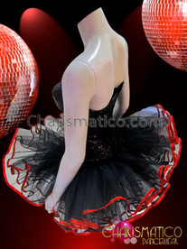 CHARISMATICO Showgirl's Sequined Black Corset With Matching Satin Trimmed Organza Tutu