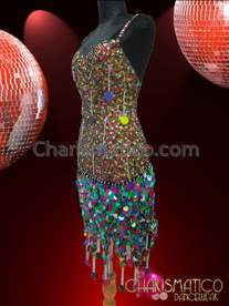 CHARISMATICO Diva's Jumbo Sequin Accented Metallic Multi-Color Sequin Latin Dance Dress