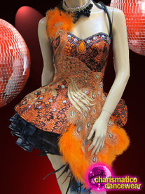 CHARISMATICO Diva's Orange And Black Brocade Peacock Appliqué Dolly Dance Dress