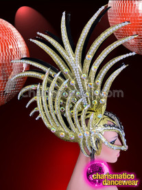 CHARISMATICO Mask Style Gold Glitter Spiked Mohawk Headdress With Crystal Accents