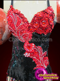 CHARISMATICO Ornately Embellished Black and Red Beaded Appliqué Sequin Diva's Leotard