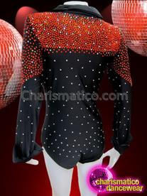 CHARISMATICO Crystal Studded Ruby Accented Rhinestone Black 70'S Style Diva Bodysuit