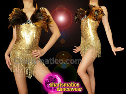 CHARISMATICO Gold Sequin Leotard With Brown Feather Accents and Beaded Fringe