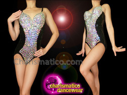 CHARISMATICO Sexy Figure Flattering Iridescent Crystal Stud Crusted Black Dance Leotard