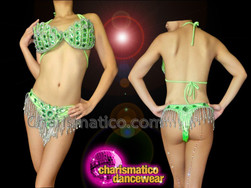 CHARISMATICO Silver Bead Trimmed Soft Green Crystal Bra With Matching Thong