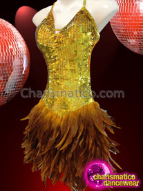 CHARISMATICO Diva Showgirls Deep Golden Yellow Sequin Feathered Skirt Dance Dress