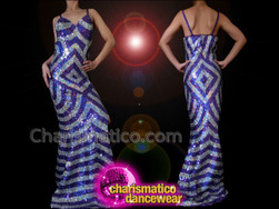 CHARISMATICO Figure Flattering Purple and Silver Geometric Pattern Sequin Pageant Gown