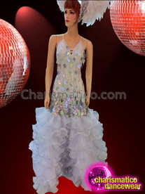 CHARISMATICO Diva's Organza Ruffled Skirted Jumbo Sequin Tasseled Silver Pageant Gown