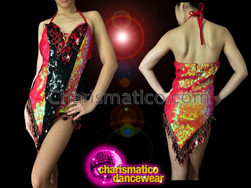 CHARISMATICO Iridescent Fiery Red Sequin Dance Dress With Black Center Stripe