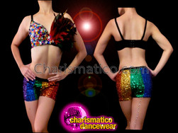 CHARISMATICO Gay Pride Random Rainbow Sequin Bra With Striped Rainbow Boyshorts