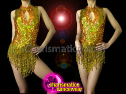 CHARISMATICO Keyhole Neckline Iridescent Metallic Gold Sequin Beaded Fringe Dance Leotard