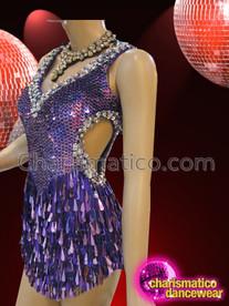 CHARISMATICO Classic Crystal Edged Metallic Glitter Purple Sequin Diva's Dance Dress