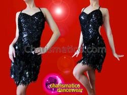 CHARISMATICO Sexy Sleek Basic Black Sequin Halter Style Latin Salsa Dress