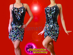 CHARISMATICO Silver Diamond Sequin Fringe Accented Black Sequin Latin Dance Dress