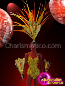 CHARISMATICO Gold Leotard, Wrist Guards, and Headdress Cabaret Diva Costume Set