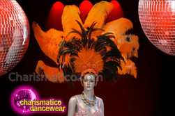 CHARISMATICO Classic Beaded Black Feather Accented Orange Ostrich Plume Showgirl's Headdress