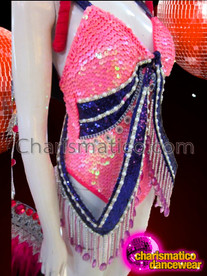 CHARISMATICO Royal Blue Sequin Accented Pink Dance Leotard With Sparkly Rhinestones