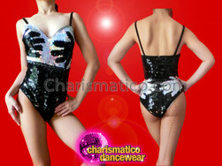 "CHARISMATICO ""Hands On"" Hand-Print Black and Silver Dance Leotard From Burlesque"