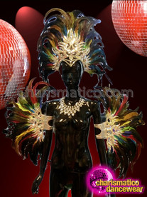 CHARISMATICO Silver Glittering Dark Rainbow Feathered Headdress And Matching Arm Cuffs