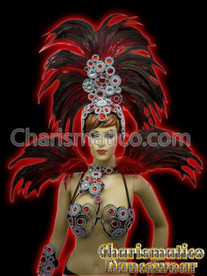 Red Feather Samba Carinval Bra and Belt + Headdress & backpack