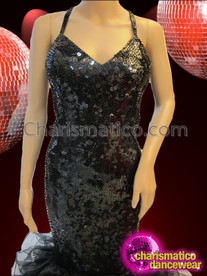 CHARISMATICO Sleek Black Sequin Mermaid Gown With Organza Pillow Ruffled Skirt