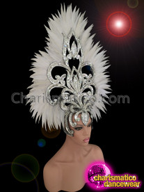 CHARISMATICO Diva's Mirror Tile Accented Silver Glitter White Feather Cabaret Headdress