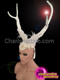 CHARISMATICO Crystal Highlighted White Fabric Wrapped and Beaded Feather Accented Antlers