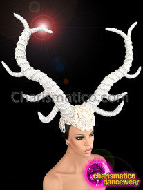 CHARISMATICO White Fabric and Silver Bead Wrapped Diva's Majestic Horn Headdress
