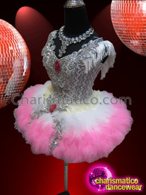 CHARISMATICO White And Pink Feather Dress With Silver Sequin And Appliqué