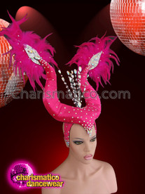 CHARISMATICO Feather Accented Fuchsia and Crystal Dusted Maleficent Horn Inspired Headdress