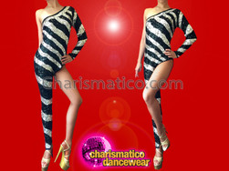 CHARISMATICO Shimmering Black Sequin Asymmetrical Catsuit With Wide Metallic Silver Stripes