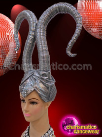 CHARISMATICO Turban Styled Metallic Wrapped Maleficent Inspired Silver Horn Diva's Headdress
