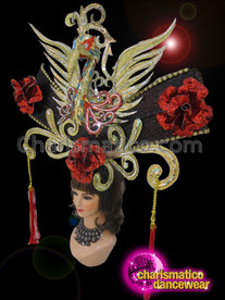 CHARISMATICO Exotic Rosy Red And Black Accented Golden Swirl Phoenix Headdress