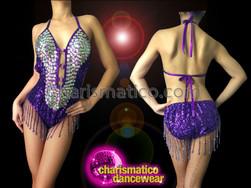 CHARISMATICO Iridescent Crystal Embellished Purple Beaded Fringe Latin Halter-Style Dance Leotard