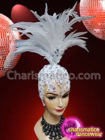CHARISMATICO Ornately Crystal Decorated White Feather Diva Headdress With Feather Cap