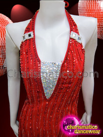 CHARISMATICO Summery Silver And Crystal Trimmed Red Sequin Tea Length Dress