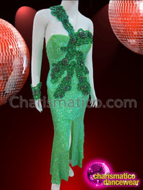CHARISMATICO One Shouldered Two Toned Green Appliqué Sequin Diva's Pageant Gown