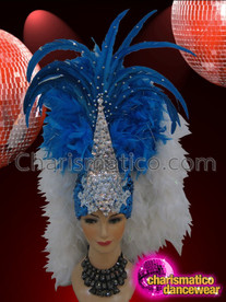 CHARISMATICO Richly Crystal Highlighted Blue And White Boa Feather Showgirl's Headdress