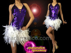 CHARISMATICO Rich Purple Sequin Halter-Style Dance Dress With White Feather Skirt